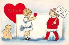 Whitney Suffragette Children Valentine Cupid Cherub Antique Postcard K30721 | eBay