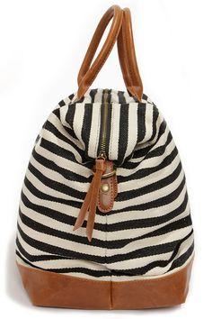 LULUS Exclusive Jet Setter Cream and Black Striped Weekender Bag at Lulus.com!
