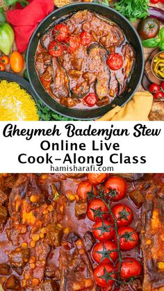 In this online Live cooking class you'll learn how to make Khoresh-e Gheymeh Bademjoon. It's a tasty lamb aubergine/eggplant stew with yellow split peas. Of course we'll also prepare some aromatic Persian saffron rice to go with our mouthwatering stew. The groups are kept small, so you will be able to ask questions whenever you like. You will join the class with up to 7 fellow participants, so it's a great opportunity to virtually meet new people, who share your love for Persian food. Split Peas, Saffron Rice, Cooking Classes, Pot Roast, Paella, Eggplant, Stew, Persian, Opportunity