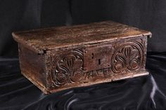 17th century elm carved box, Marhamchurch antiques