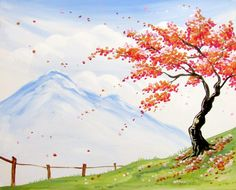 countryside orange blossoms painting