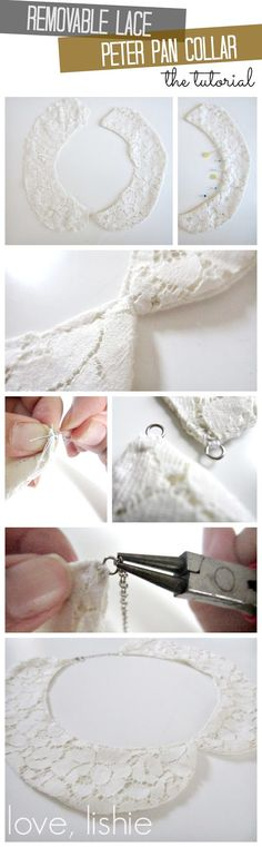 Removable Lace Peter Pan Collar - this looks easy and is SO cute! Sewing Hacks, Sewing Tutorials, Sewing Crafts, Sewing Projects, Sewing Patterns, Sewing Collars, Do It Yourself Fashion, Diy Couture, Collar Pattern