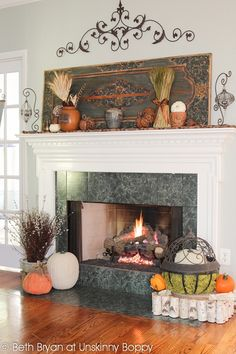 Fall and Thanksgiving Mantel decorating ideas-3