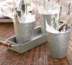 Galvanized Metal Condiment & Tray Set