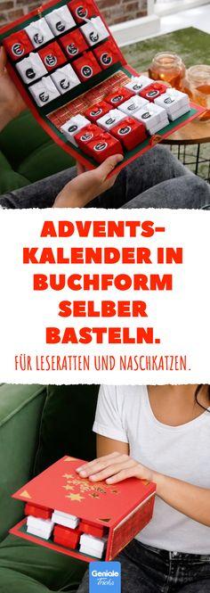 Adventskalender in Buchform selber basteln. Für Leseratten und Naschkatzen. #dyi #adventskalender #buch #weihnachten #bastelidee #basteln