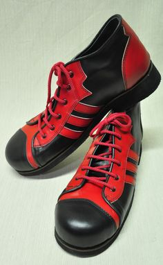 ZYKO Professional Real Leather Clown Shoes 3 Lines model (ZH040) Red/Black #ZYKO