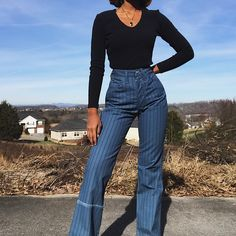 "2a0852603728  masharoush on Instagram  ""SOLD Vintage 70s deadstock pinstriped Wrangler  flares available in sz 25 DM for purchasing and details"""
