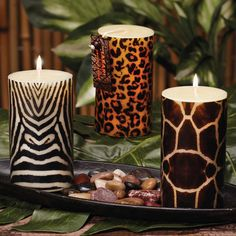 leopard print candles @Maranda Carvell Withers