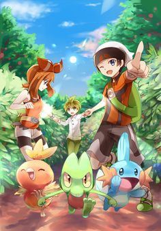 May, Brendan, Wally, Torchic, Treecko, Mudkip