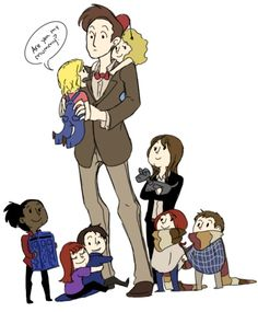 I just adore this. I love how hes holding Rose, and Rivers on his back, and Sarah Jane is older than the rest of them, and shes holding K-9, and Amy and Rory are holding hands, and Jack is hugging the Doctor but Donna is hugging Jack and martha is holding the TARDIS.....its just too adorable...