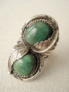 Turquoise and Silver Native American Ring $64