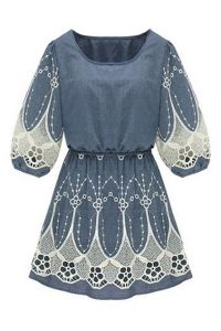 Lace Panel Cropped Blue Dress