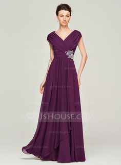 A-Line/Princess V-neck Floor-Length Chiffon Mother of the Bride Dress With Beading (008062562) - JJsHouse