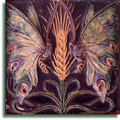 Earthenware tile, relief-moulded with two butterflies perched on a wheat ear… Azulejos Art Nouveau, Art Nouveau Tiles, Art Nouveau Design, Monet, William Morris Art, Portuguese Tiles, Antique Art, Antique Tiles, Antique Pottery