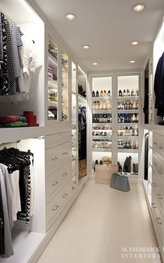 Long and narrow closet space with good lighting