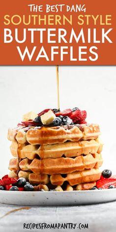 Best Waffle Recipe, Waffle Maker Recipes, Pioneer Woman Waffle Recipe, Waffle Recipe Martha, Buttermilk Waffles, Buttermilk Recipes, Homemade Buttermilk, Crispy Buttermilk Waffle Recipe, Healthy Breakfasts