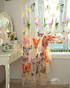 New Arrival Colorful Butterfly Print Grommet Top Sheer Curtain