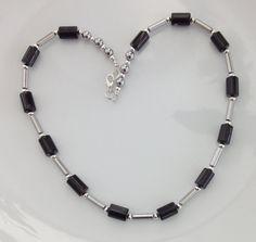 Black Onyx Necklace Onyx Cylinders Silver by AwfyBrawJewellery