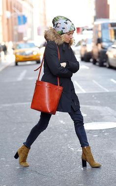 Woolrich John Rich & Bros. coat, Isabel Marant boots, and a Mansur Gavriel bag