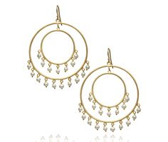 Dancia Earrings « Shop-Tuile | MaharaniWeddings.com Chand bali Handcrafted 18 kt Gold Plated Sterling Silver dual circular hoops with Freshwater Pearls dotted along the bottom edge.