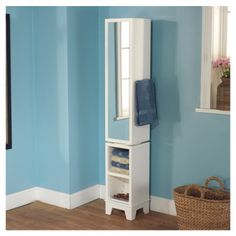109.95-Lanie Revolving Linen Valet - The Cozy Corner on Joss & Main / ENGINEERED WOOD & MIRROR / WHITE / 1-LG. ADJ. TRAY /3-SM. ADJ. TRAYS / REVOLVING TOP /  MEAS. 11''W X 10''D X 64.6''H