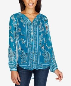Lucky Brand Printed Blouse - Turquoise Multi M