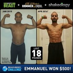 Emmanuel Feliciano got super-shredded with @beachbody fitness programs and @shakeology, and he won $500 in the @beachbodychallenge. Wow! #BeachbodyChallenge #Daily500 What program are you doing today?