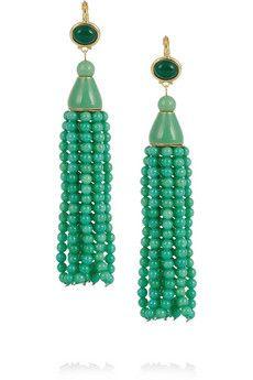 Kenneth Jay Lane Gold-plated beaded tassel earrings   THE OUTNET