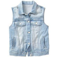 Gap Women Factory Destructed Denim Vest (50 CAD) ❤ liked on Polyvore featuring outerwear, vests, sleeveless vest, blue denim vest, denim waistcoat, gap vest and blue vest