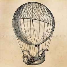 Vintage Hot Air Balloon Illustration Printable 1800s Antique Steampunk Aerostation Print Instant Dow