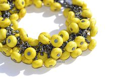 Handmade braclet by Helga Markhus, Norway Bracelet Designs, Orange, Yellow, Norway, Cuffs, Jewelry Design, Beaded Bracelets, Handmade, Black