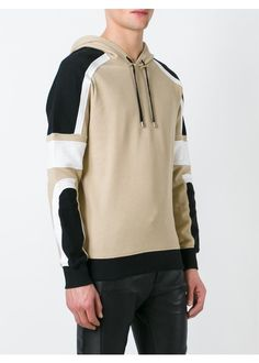 Beige, black and white cotton-linen blend panelled hoodie from Balmain featuring a drawstring hood, ribbed details, long sleeves and a ribbed hem and cuffs.