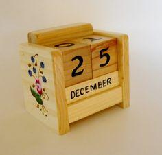 Handcrafted Wooden Block Perpetual Desk Calendar by 2HeartsDesire, $25.00