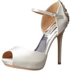 Peep-toe satin pump featuring crystal-embellished heel, hidden platform, and adjustable ankle strap