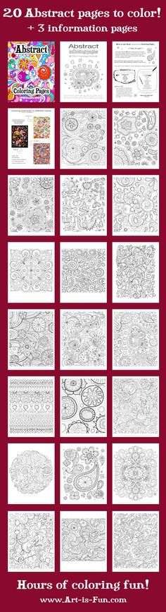 Printable Abstract Coloring pages - Zentangle - doodle - doodling - black and white zentangle patterns. Abstract Coloring Pages, Colouring Pages, Adult Coloring Pages, Coloring Sheets, Coloring Books, Mandala Coloring, Fall Coloring, Doodles, Teaching Art
