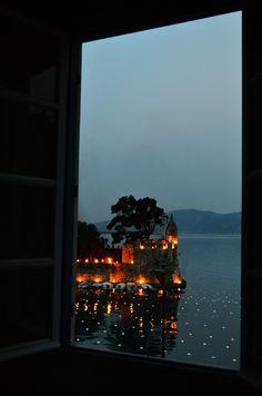 window, night lights, greece
