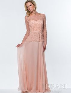elegant long peach mother of bride dress 2015 Terani 151M0365