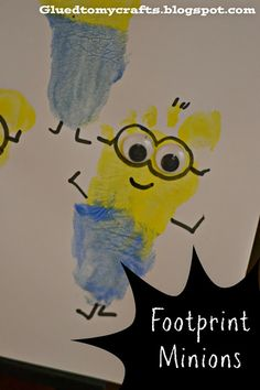 Despicable Me Minion Footprints.  I love handprint and footprint art!  This is so cute!