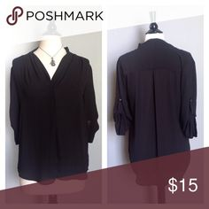 """Mossimo Dressy Top NWOT Black High/Low Top.  Laying flat, Front Shoulder to Hem 26"""", Back, Neck to Hem 30"""". Sleeves have roll-up Tabs. 100% Polyester. Mossimo Supply Co Tops Blouses"""