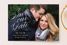 """Perfectly Stated"" - Full-Bleed Photo Save The Date Postcards in Snow by Sandra Picco Design."