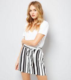White Stripe Tie Waist Shorts | New Look
