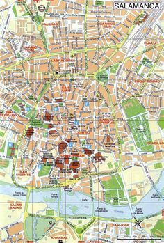 Salamanca hotels and sightseeings map | Maps | Pinterest | Spain ...