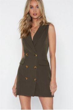 456d7e12c Vestidos baratos para ponerte ya y seguir utilizando en primavera  vestido  tipo blazer con corte