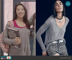Free People Sunset Park Thermal Top in Heather Grey worn by Arden Cho on Teen Wolf