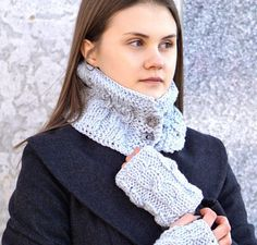 Cozy Cable Scarf & hand warmer buy together by ValerieBaberDesigns