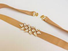 Gold belt. Elastic waist belt. Swarovski crystals belt. Bridal belt. Wedding dress belt. Jeweled belt. Sparkly evening belt. Stretch belt. by MissLaceWedding on Etsy