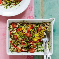 Healthy Dinner Recipes from Liz Earle Bean Salad with Grilled Courgettes and Peppers Healthy Dinner Recipes, Vegan Recipes, Salad Sandwich, Make Ahead Meals, Bean Salad, Evening Meals, Yummy Food, Favorite Recipes, Zucchini