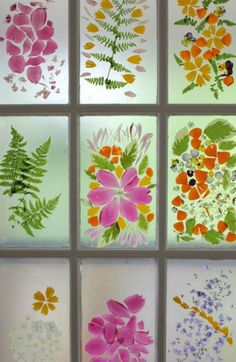 Use contact paper and flower petals to make a spring-inspired stained glass window.