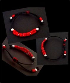 Black leather wristband with bright red wooden tubular beads. Black & red cotton slip knot fastening which also allows the size to be adjusted