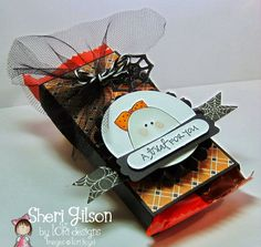 Pedal Pusher Ghost Girl, by PaperCrafty - Cards and Paper Crafts at Splitcoaststampers Fall Paper Crafts, Halloween Paper Crafts, Candy Crafts, Halloween Activities, Scrapbook Paper Crafts, Halloween Cards, Halloween Gifts, Fall Halloween, Paper Crafting